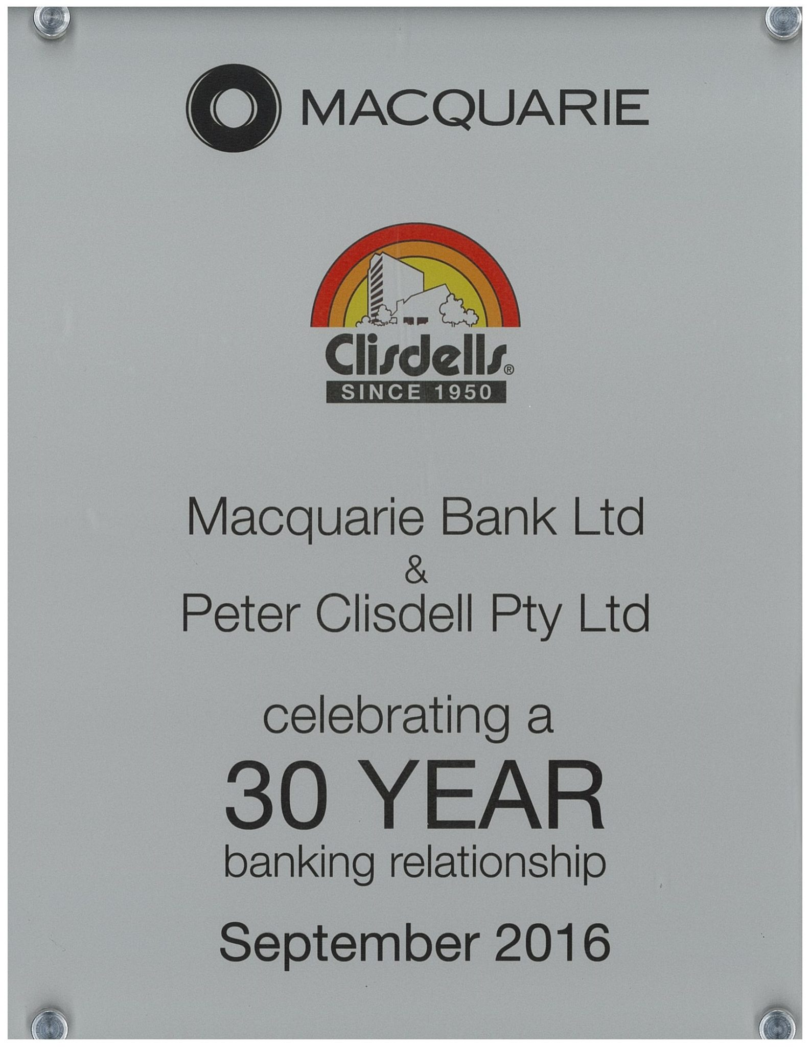 Clisdells & Macquarie Bank celebrating 30 years